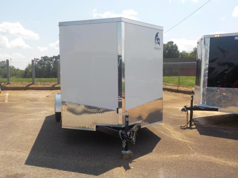 2019 Spartan 7 x 12  Enclosed Cargo Trailer In White With Ramp Door