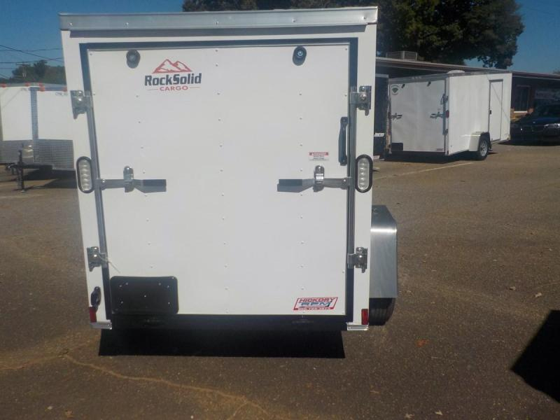 2019 ROCK SOLID CARGO 5 X 8 SA ENCLOSED CARGO TRAILER WITH RAMP IN WHITE