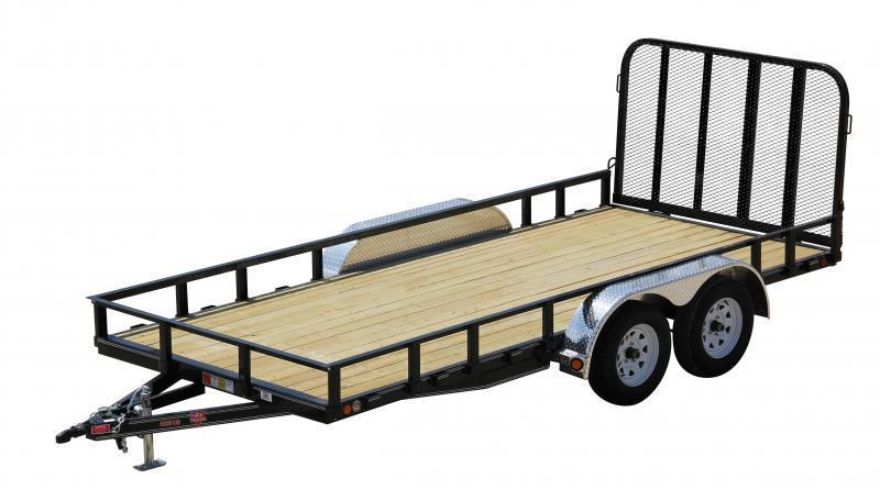 "2017 PJ Trailers U8 83"" X 18 Tandem Axle Utility Trailer with Ready Rail System"