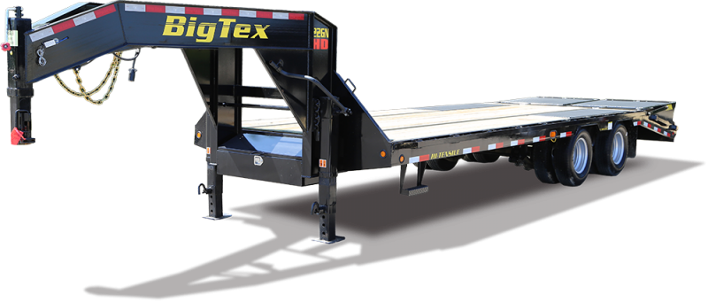 Big Tex 22GN  35' Flatdeck Gooseneck Trailer with 5' Mega Ramps on the Dove Tail