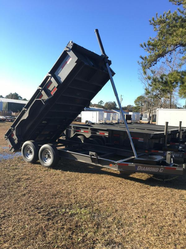 "2019 Diamond C Trailers 14' Low Profile Super Heavy Duty 7 GA Steel Dump Trailer with Trunnion Hoist & 24"" side walls"