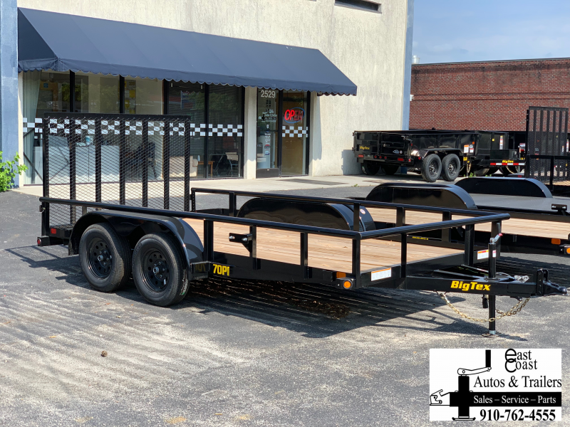 Big Tex Trailers 70PI (7' X 14') Tandem Axle Utility Trailer with brakes on BOTH axles and 7K GVWR