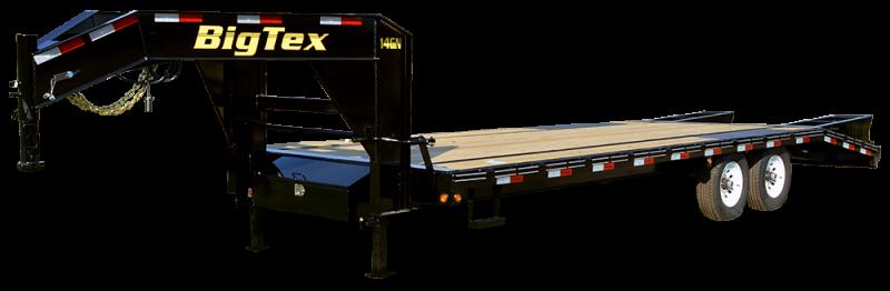 2019 Big Tex 14GN - 25' Flat Deck + 5' Mega Ramps Gooseneck Trailer