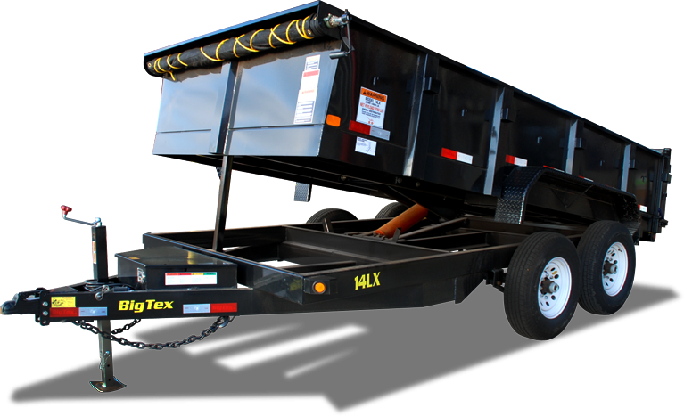 2018 Big Tex 14LX - 14' HD Dump Trailer with 14K GVWR & 7' Slide-In Ramps