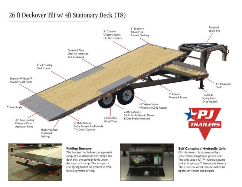 """2019 PJ T8 22' x 96"""" Deckover Tilt Flatbed Trailer"""