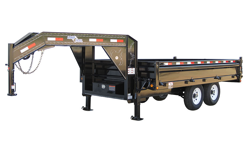 "2013 Load Trail 96"" X 14' Tandem Axle Gooseneck Deck Over Dump Trailer (with scissor lift)"