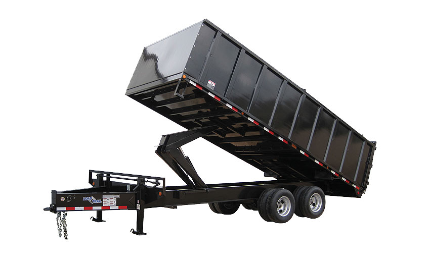 "2016 Load Trail 102"" x 20' Pintle Hook Dump Deck Over   2-10,00 lb Axles 4' Removable Sides"