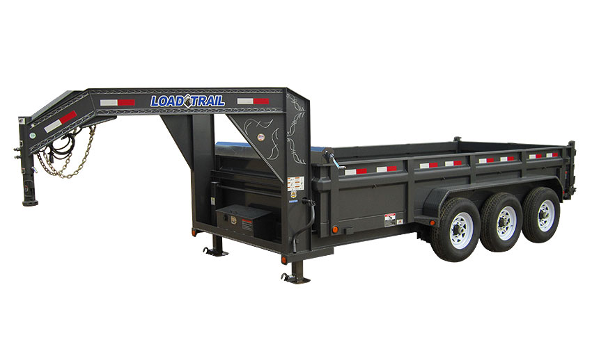"2014 Load Trail 83"" x 16' Low Pro Triple Axle Gooseneck Dump (with scissor lift)"