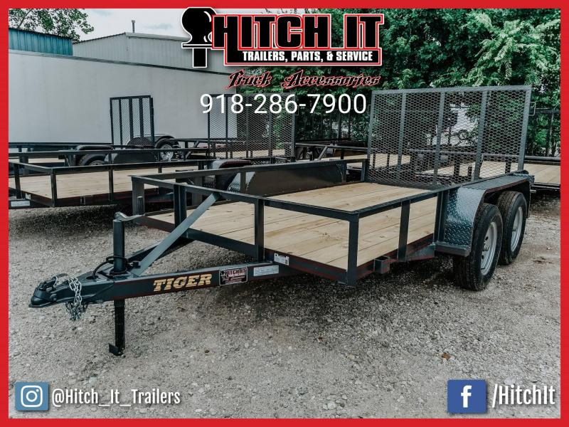 Tiger 77 X 12 Charcoal Tandem Axle Utility Trailer w/ Ramp Gate 3500 lb axles in Ashburn, VA