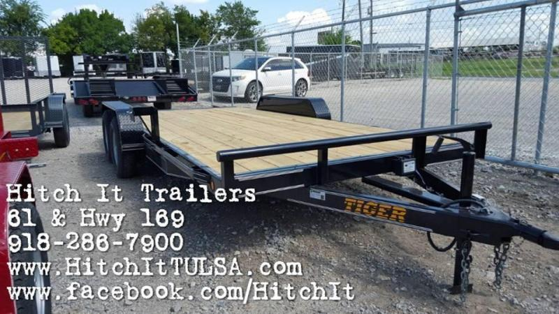 83 x 18 Flatbed Car Hauler Trailer Brakes Bulldog 3500k axles slide in ramps