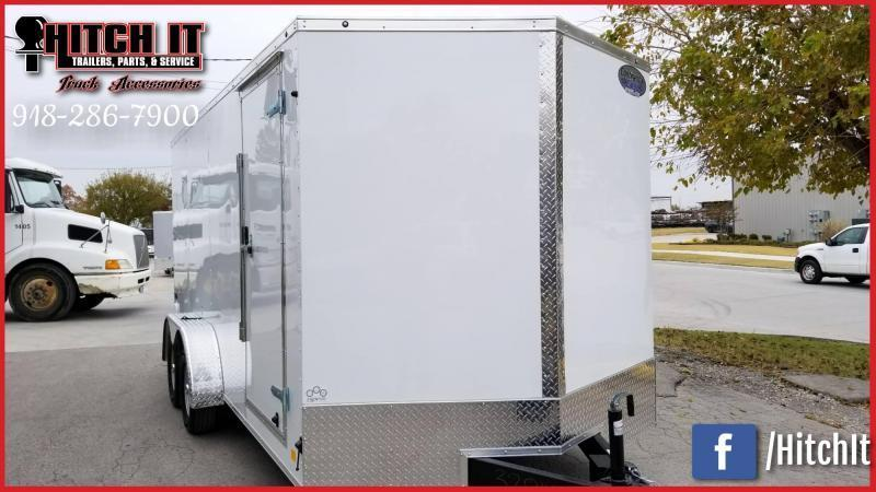 2019 Continental Cargo 7 x 14 + v-nose  Enclosed Cargo Trailer Rear Ramp