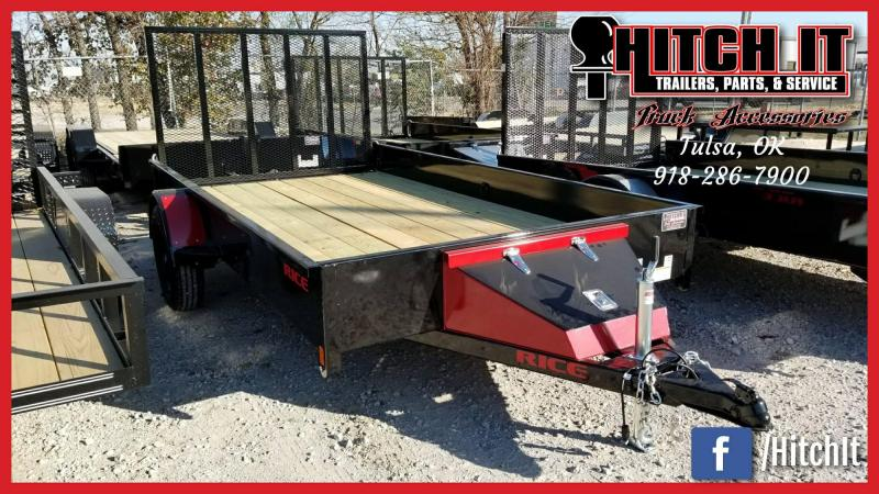 RICE 76 X 12 STEALTH Utility Trailer POWDER COATED RedOut Package Blk Wheels