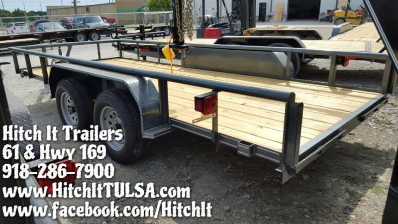 83x16 Pipetop Utility Trailer W/ SLIDE IN RAMPS BLACK