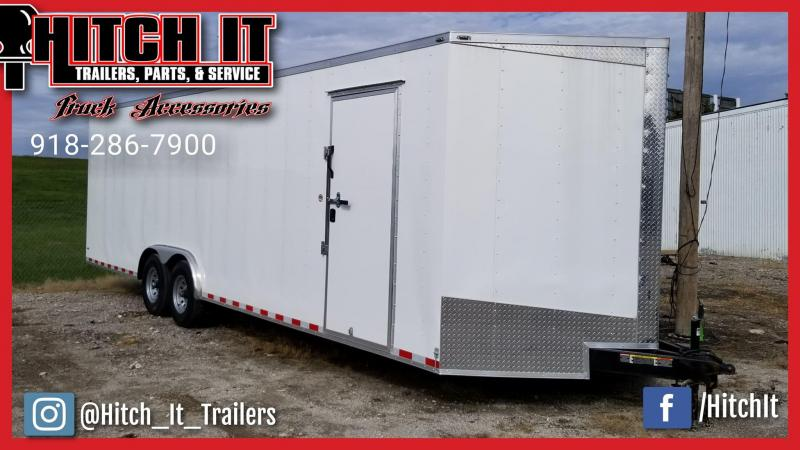 2018 Lark 8.5 x 28 + V-nose Enclosed Cargo Car Hauler Trailer w/ 7000# Axles 7' Tall