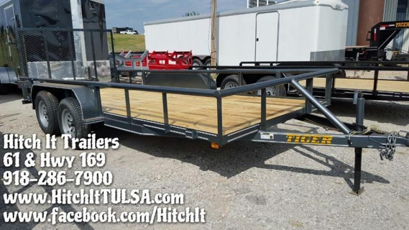 Charcoal 77 x 16 Pipetop Utility Trailer w/ Rear Ramp Gate