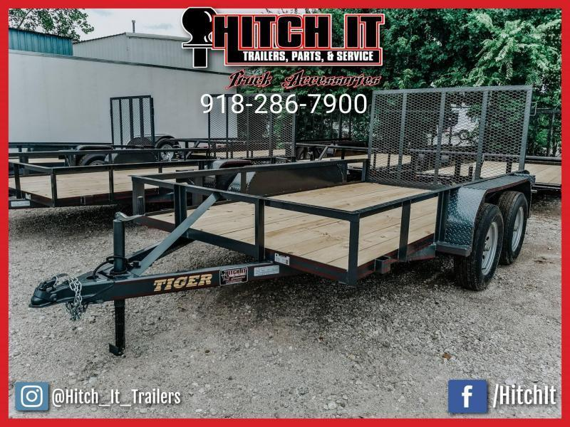Tiger 77 X 12 BLACK Tandem Axle Utility Trailer w/ Ramp Gate 3500 lb axles