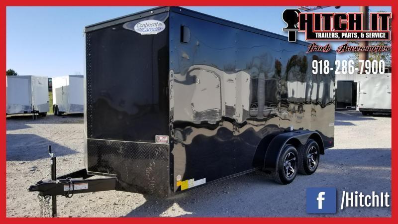 Midnight Black Out  7 x 16 + v-nose  Enclosed Cargo Trailer