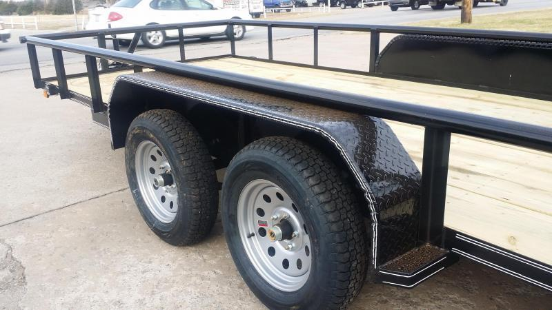 Black 83x16 Pipetop Utility Trailer w/ Ramp Gate