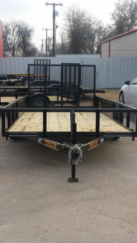 Black 83x16 Pipetop Utility Trailer w/ Ramp Gate