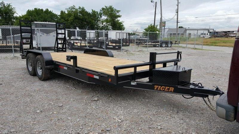 Tiger 83 x 22 Car Hauler Flatbed Trailer Wood Floor Stand Up Ramps