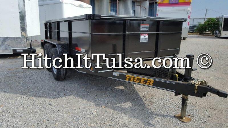 83 x 14 DUMP TRAILER bumper pull slide out ramps 7000 lb axles