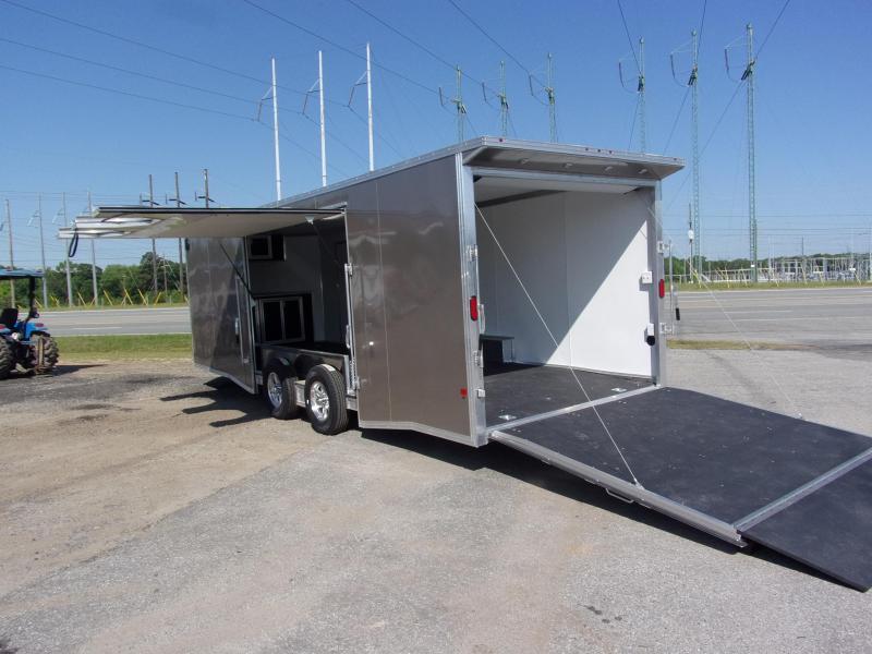 2019 Mission 8.5x24 Pewter spread axle ramp door Elite Ecsape door Enclosed Cargo Trailer