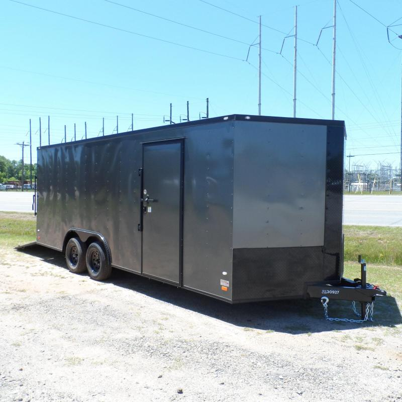 2019 Covered Wagon Trailers 8.5x20 Char Coal  Black out ramp door Enclosed Cargo