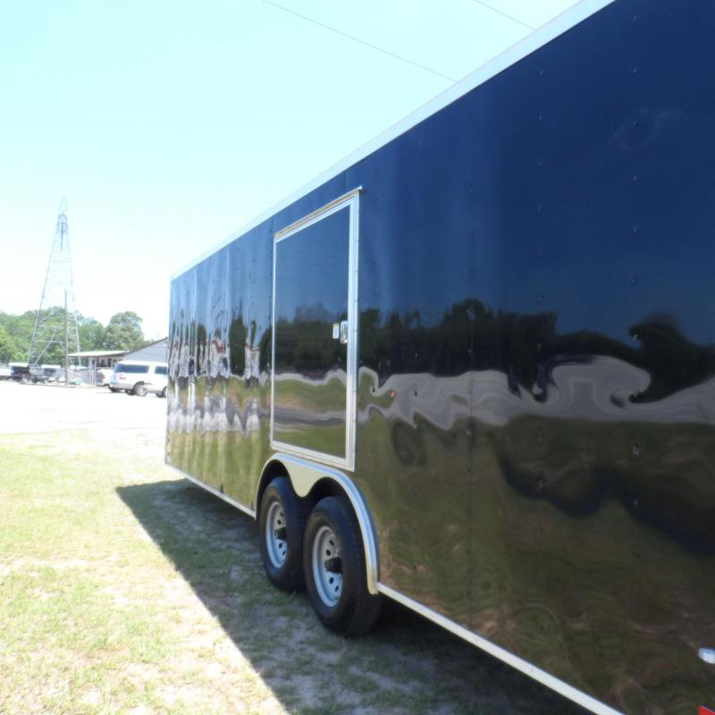 2019 Covered Wagon Trailers 8.5x24 Black Escape Door Spread axles ramp door Enclosed Cargo