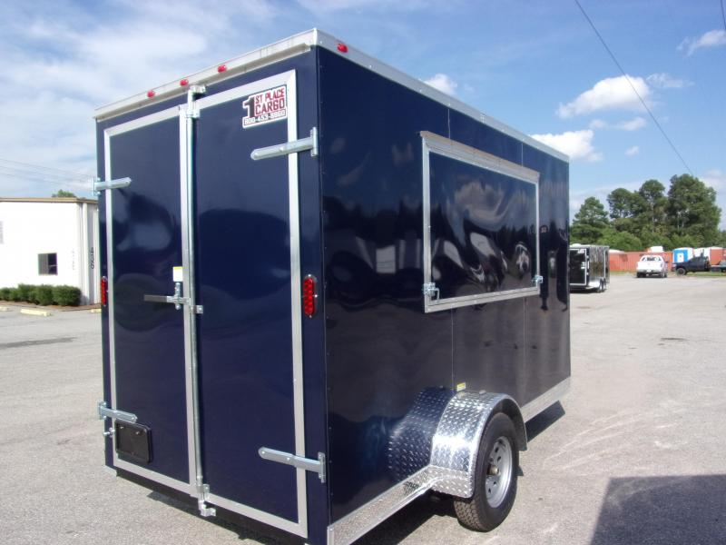 2019 EagleCargo Trailers 6x12 7' 3x6 Window Blue Enclosed Cargo Concesion