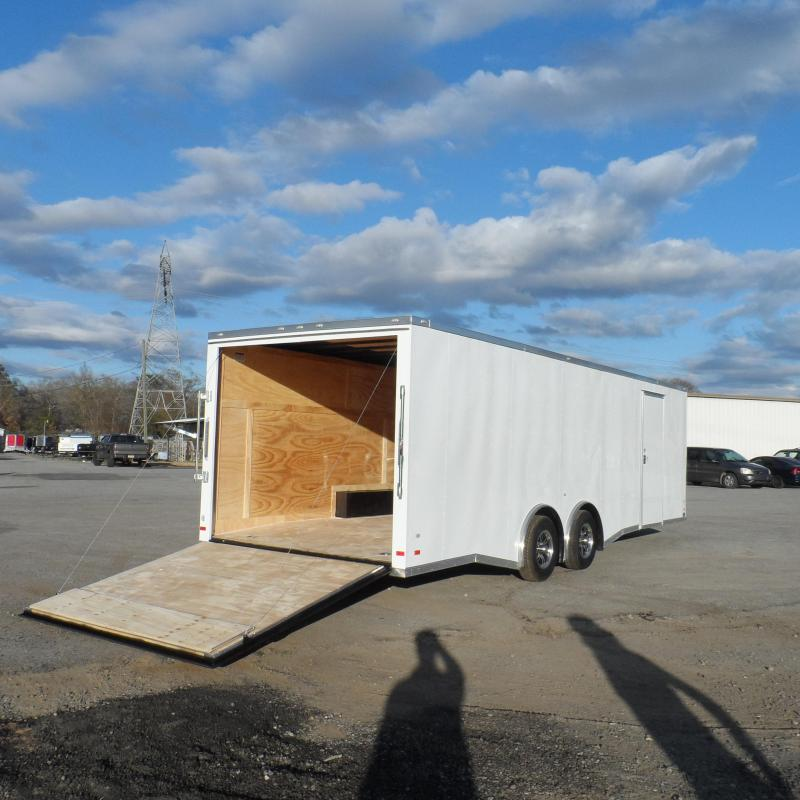 2019 Covered Wagon Trailers 8.5x24  White Spread axles ramp door Enclosed Cargo