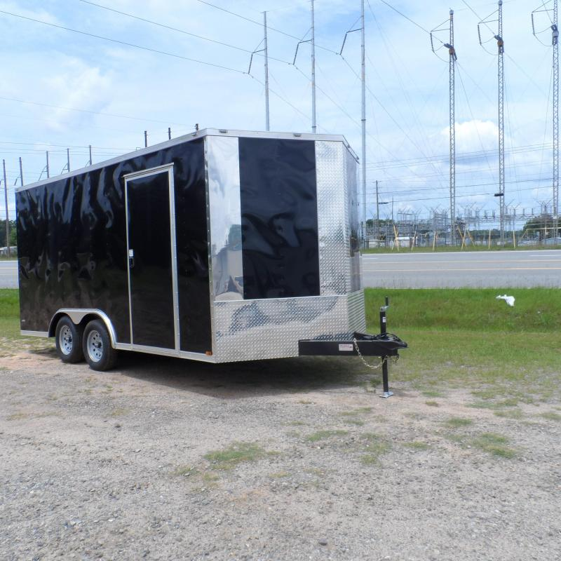 2019 Quality Cargo 8.5x16 7' Interior ramp door Black Enclosed Cargo Trailer