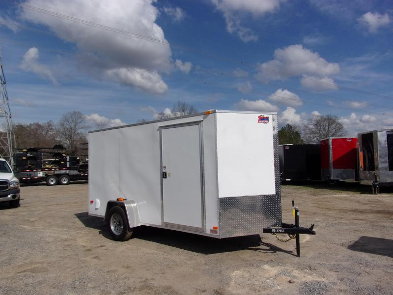 2019 Covered Wagon Trailers 6x12 Ramp door silv Series White Enclosed Cargo Trailer