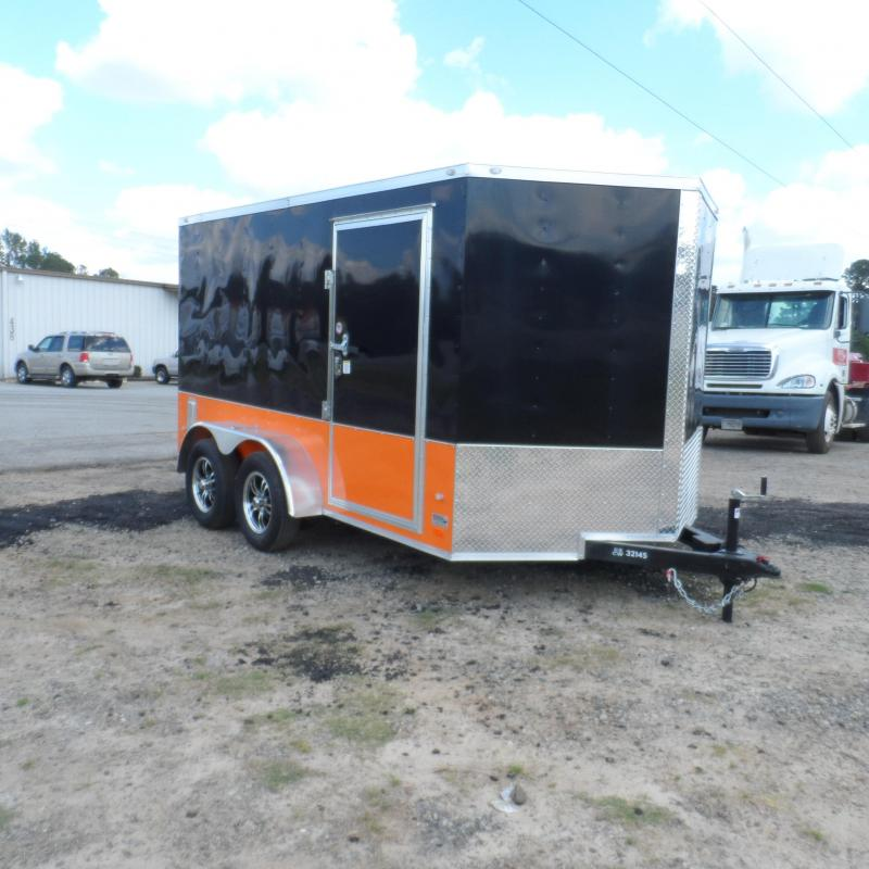 2019 Covered Wagon Trailers 7x12 MCP Bk & Or ramp door Enclosed Cargo Trailer