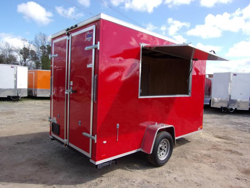 2019 Covered Wagon Trailers 6x12 7' 3x6 Window  Red vending Enclosed Cargo Concesion in Ashburn, VA