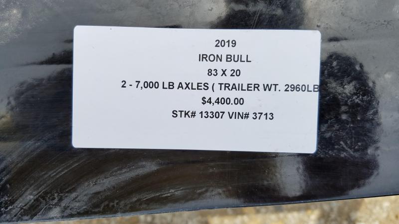 2019 IRON BULL 83X20 EQUIPMENT HAULER TRAILER