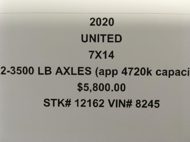 2020 UNITED 7 X 14 X 7 ENCLOSED CARGO TRAILER
