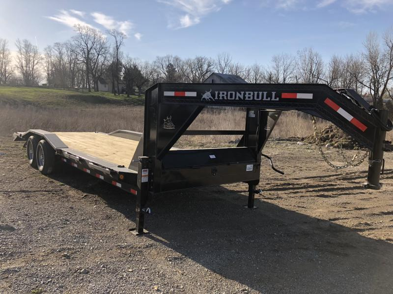 2018 IRON BULL 102X24 GOOSENECK EQUIPMENT HAULER TRAILER WITH DRIVE OVER FENDERS