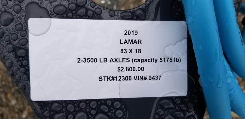 2019 LAMAR 83X18 CLASSIC UTILITY TRAILER