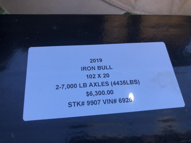 2019 IRON BULL 102 X 20 TILT EQUIPMENT HAULER LOPRO TRAILER