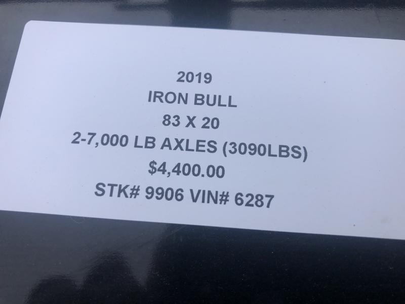 2019 IRON BULL 83X20 EQUIPMENT HAULER TRAILER