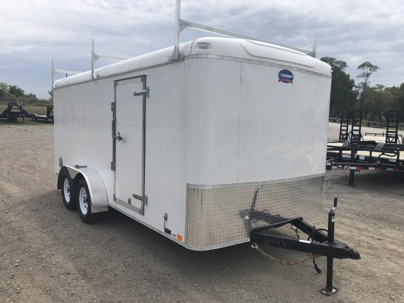 2018 UNITED 7 X 16 X 6 ENCLOSED CARGO TRAILER WITH LADDER RACKS