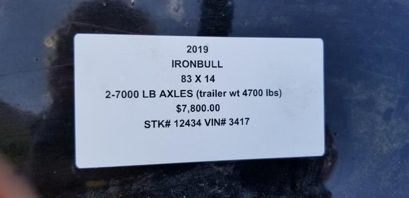 2019 IRON BULL 83X14 LO PRO DUMP TRAILER