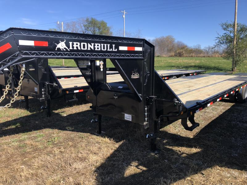 2019 IRON BULL 102X30 GOOSENECK LOPRO DECKOVER FLATBED TRAILER WITH 10K LB AXLES
