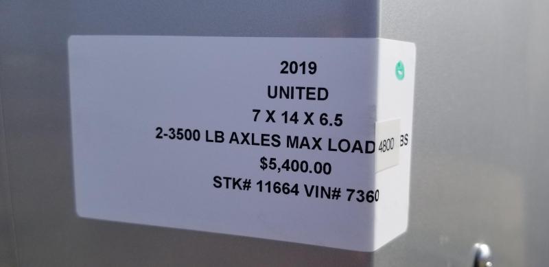 2019 UNITED 7 X 14 X 6.5 ENCLOSED CARGO TRAILER
