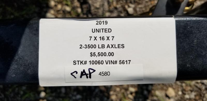 2019 UNITED 7 X 16 X 7 ENCLOSED CARGO TRAILER