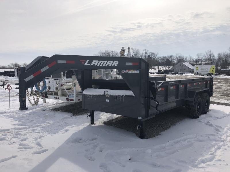 "2019 LAMAR 83x16 GOOSENECK LOPRO DUMP TRAILER WITH 36"" SIDES"