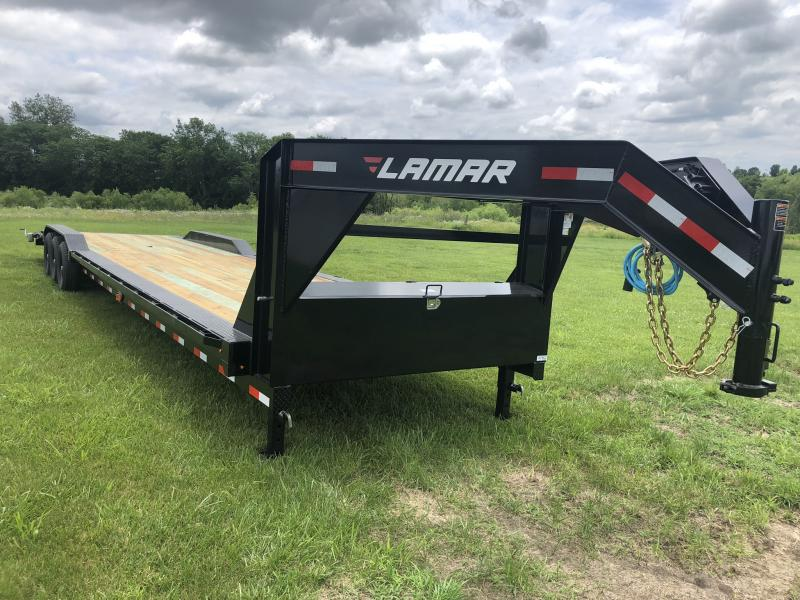 2019 LAMAR 102 X 38 GOOSENECK  EQUIPMENT HAULER TRIPLE AXLE TRAILER WITH DRIVE OVER FENDERS