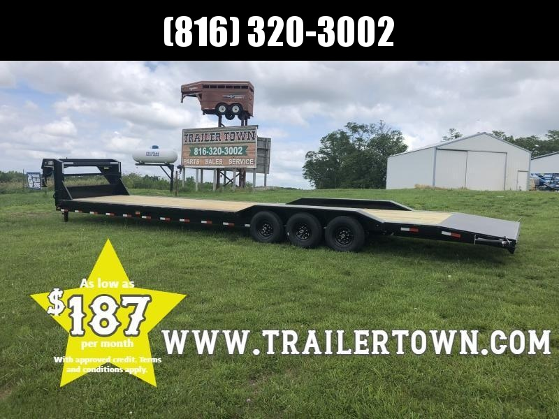 2019 LAMAR 102 X 38 GOOSENECK  EQUIPMENT HAULER TRIPLE AXLE TRAILER WITH DRIVE OVER FENDERS