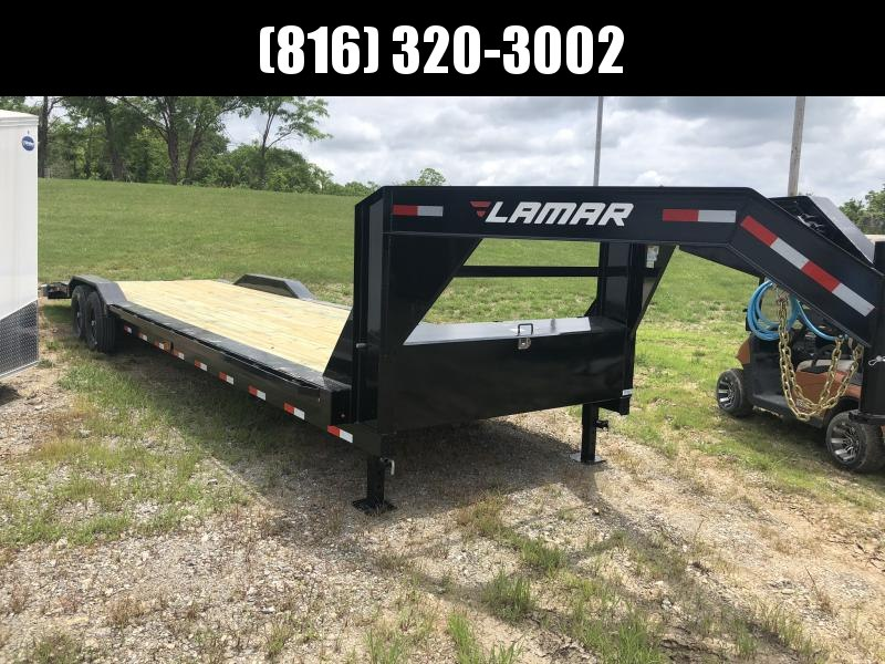 2019 LAMAR 102 X 32 GOOSENECK EQUIPMENT HAULER TRAILER WITH DRIVE OVER FENDERS