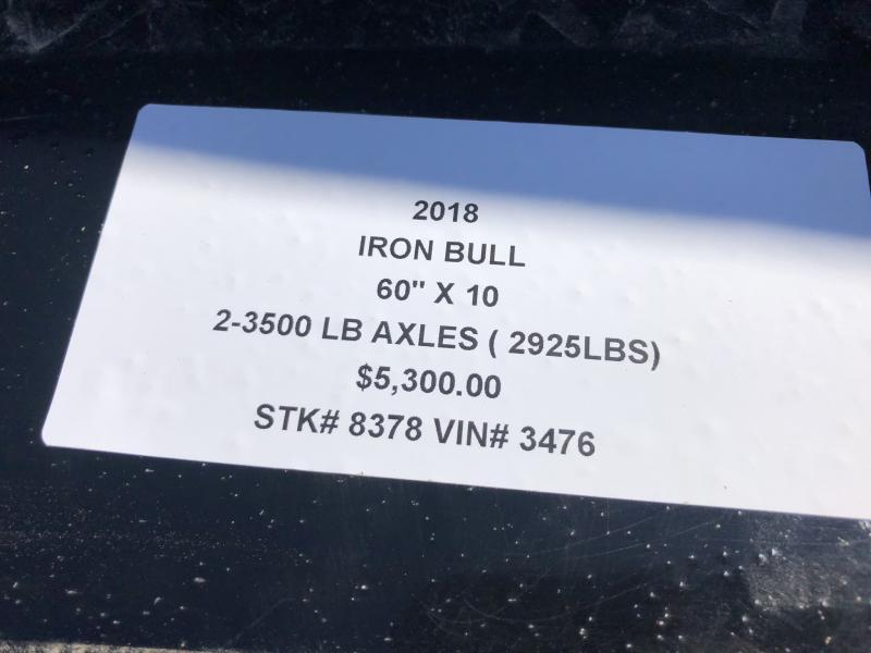 2018 IRON BULL 60 X 10 MINI DUMP TRAILER